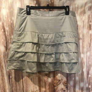 LOFT Gray Tiered Frill Skirt Size 10 Spring/Summer